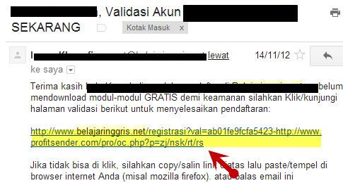 klik link konfirmasi pada email Anda