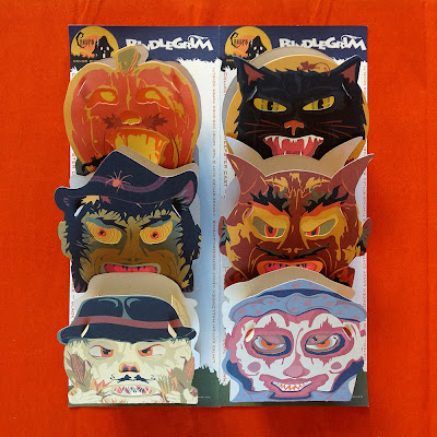 A sixpack of vintage style slot-tab candy container lanterns in full color by Halloween artist Bindlegrim