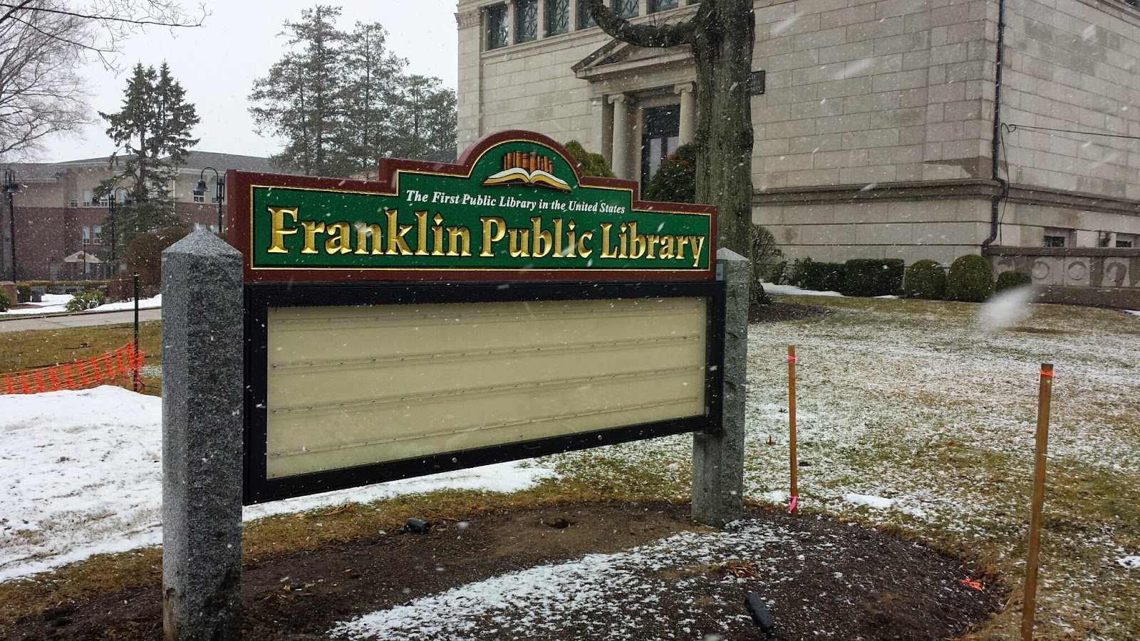 sign replaced (finally) at the Library