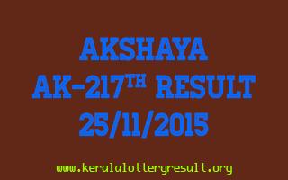 AKSHAYA AK 217 Lottery Result 25-11-2015