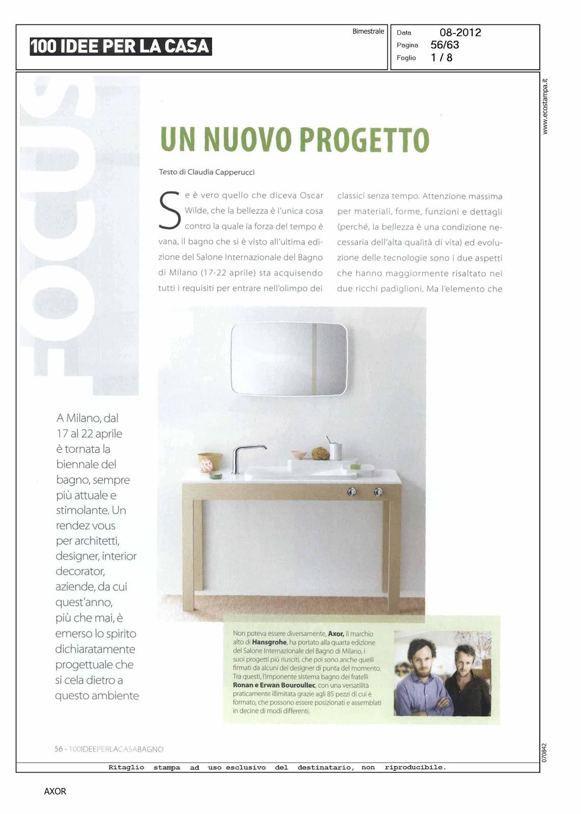 Rassegna stampa axor agosto 2012 - 100 idee per la casa ...