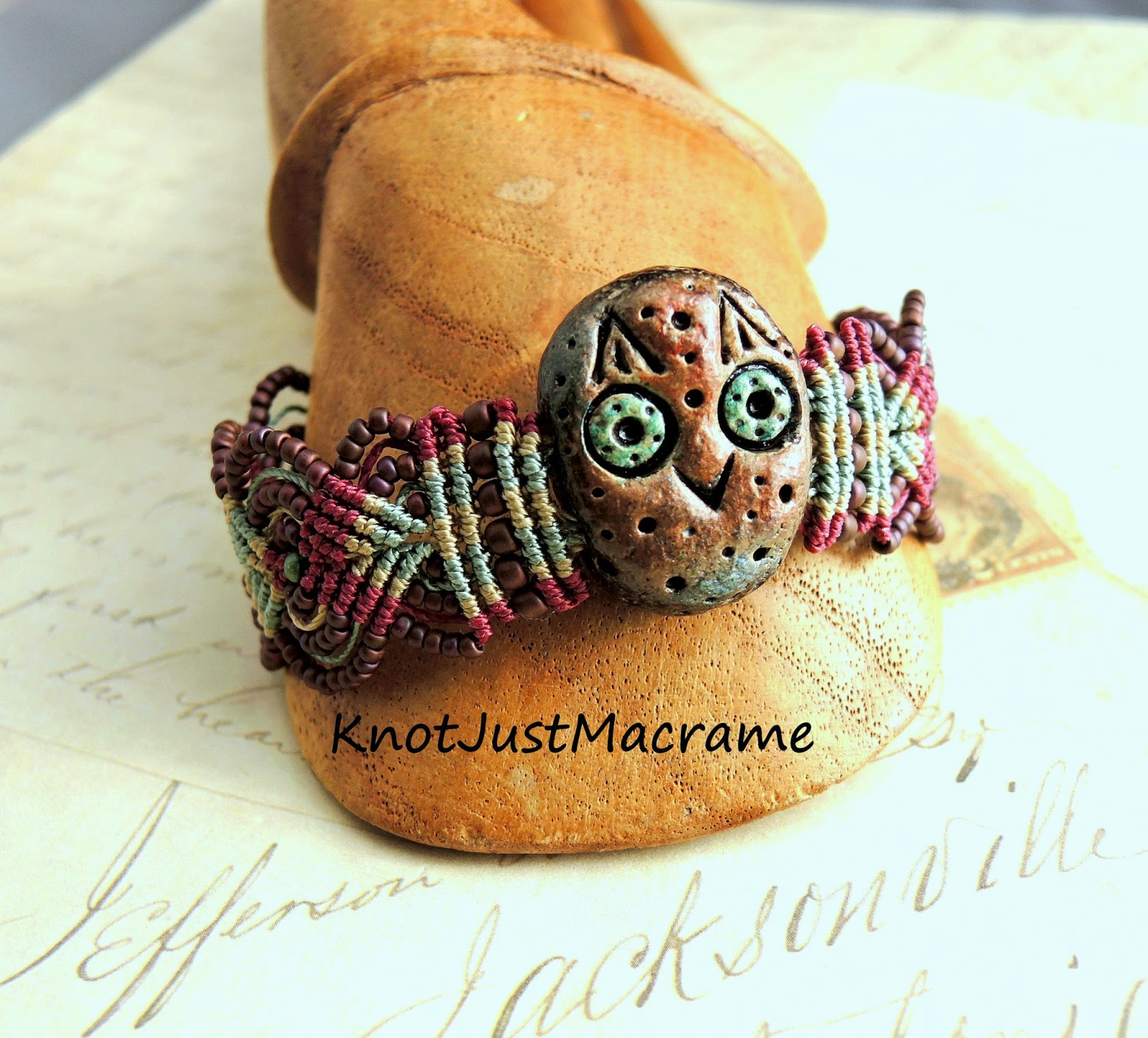 Macrame bracelet by Sherri Stokey with owl from Dreams & Elements.