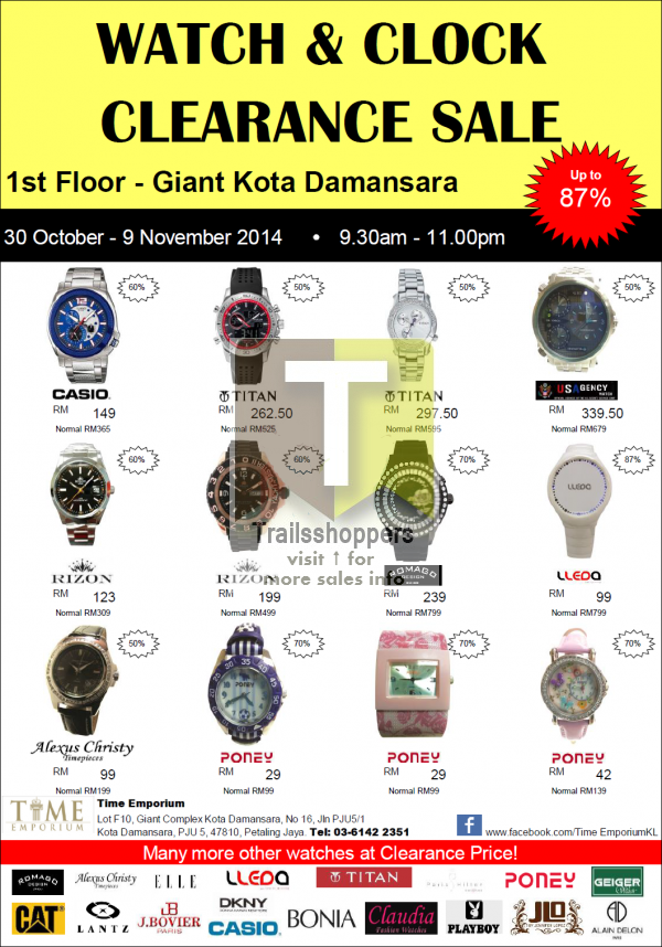 Watch & Clock Clearance Sale offers damansara giant