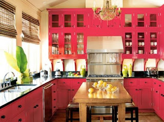 red kitchen cabinets style