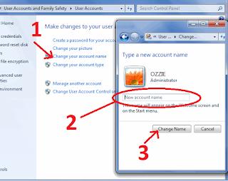 Cara Mengganti Nama Komputer & Nama Pengguna Account Komputer di Windows 7