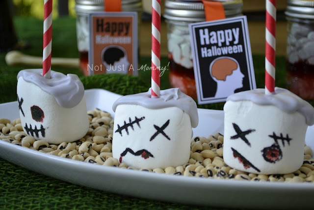 zombie party treat table marshmallows 2