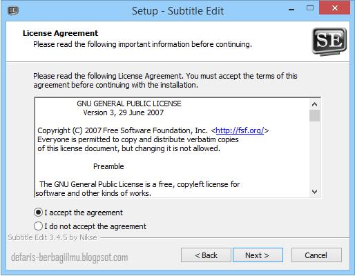 Langkah ketiga mengenai lisensi aplikasi subtitle edit