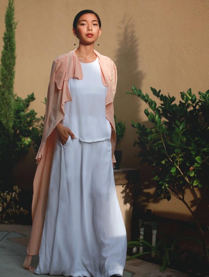Stephanie Liu of Honey & Silk wearing A.L.C. Rolston Dress and Unif coat