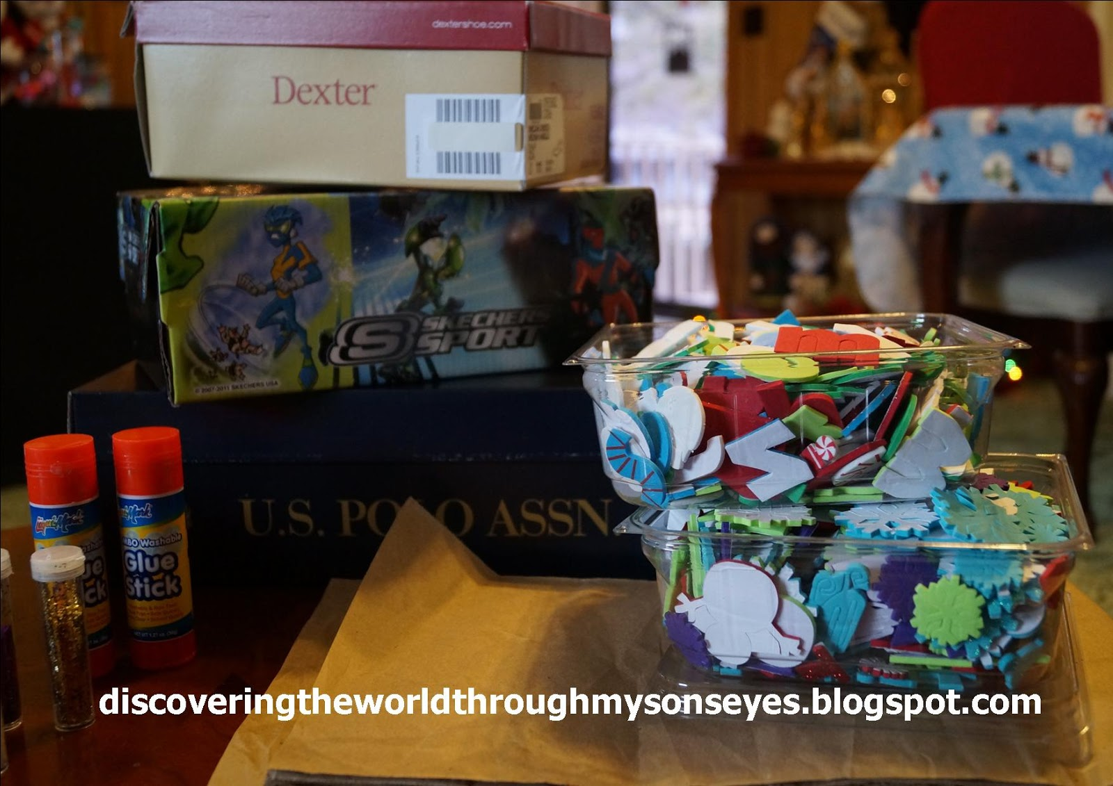 Empty Shoe Boxes And Brown Paper For Them To Wrap Crayons Markers Stickers Decorate The Box