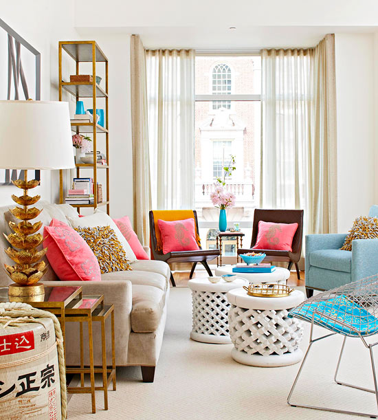 Copy cat chic playful bronze living room - Pink and gold living room ...