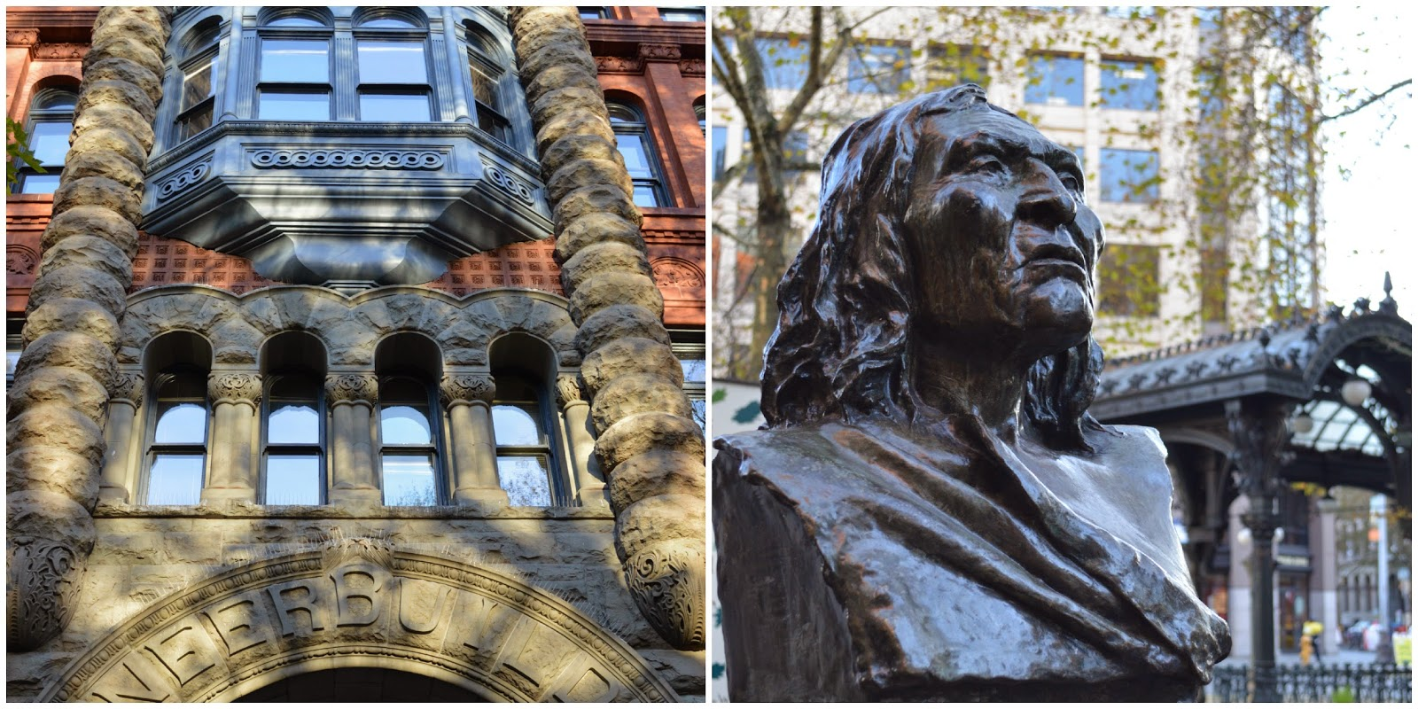 Pioneer Building. Chief Seattle Fountain.
