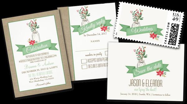 Country Rustic Winter Mason Jar Wedding Invitation