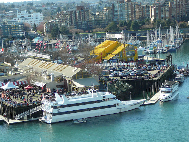 Yacht moored in False Creek, Vancouver, BC