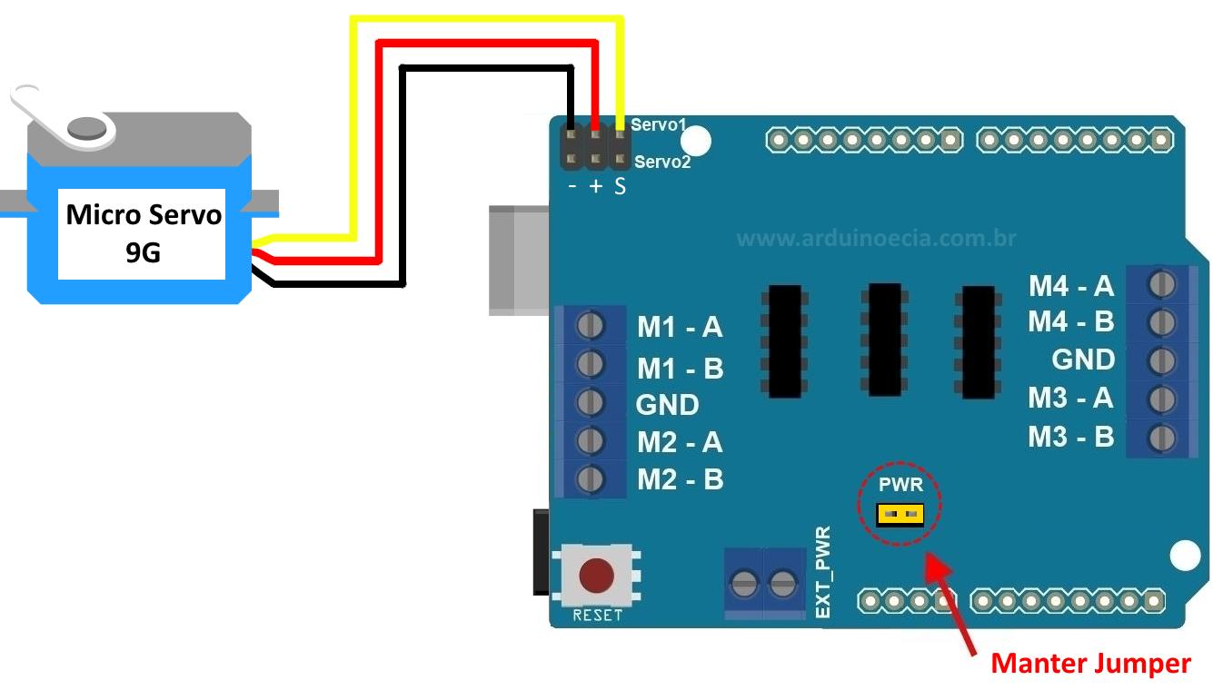 Controlando servo motor com o motor shield l293d arduino for Micro servo motor arduino