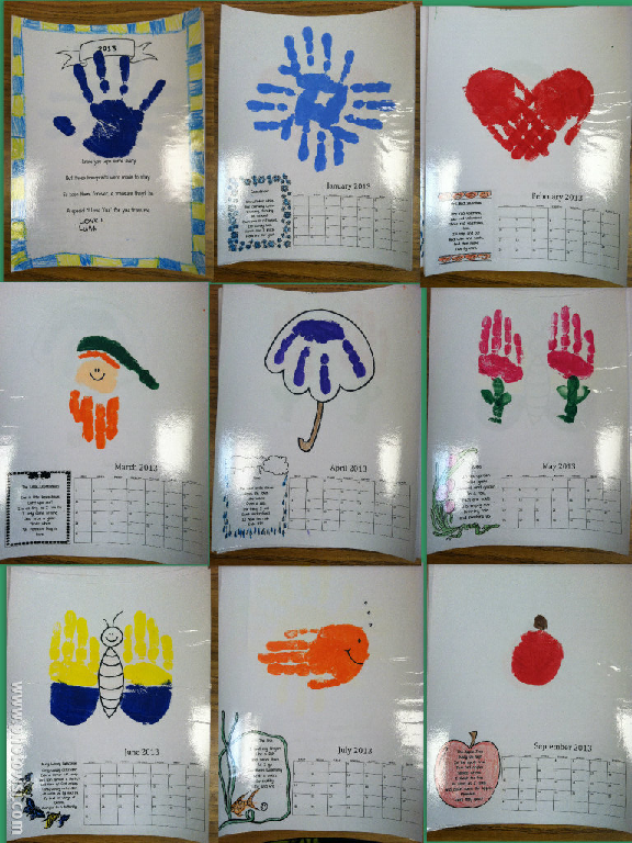Kids Christmas Calendar Ideas : Handprint calendar such a cute idea each month has