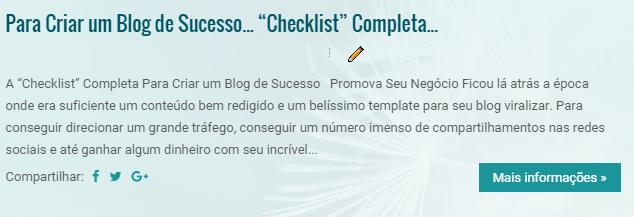 """Para Criar um Blog de Sucesso... """"Checklist"""" Completa..."""