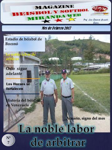 Magazine Béisbol y Softbol Miranda. Febrero 2017