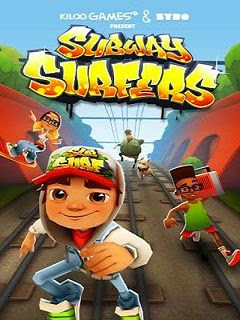 Screenshots of the Subway surfers for java mobile, phone.