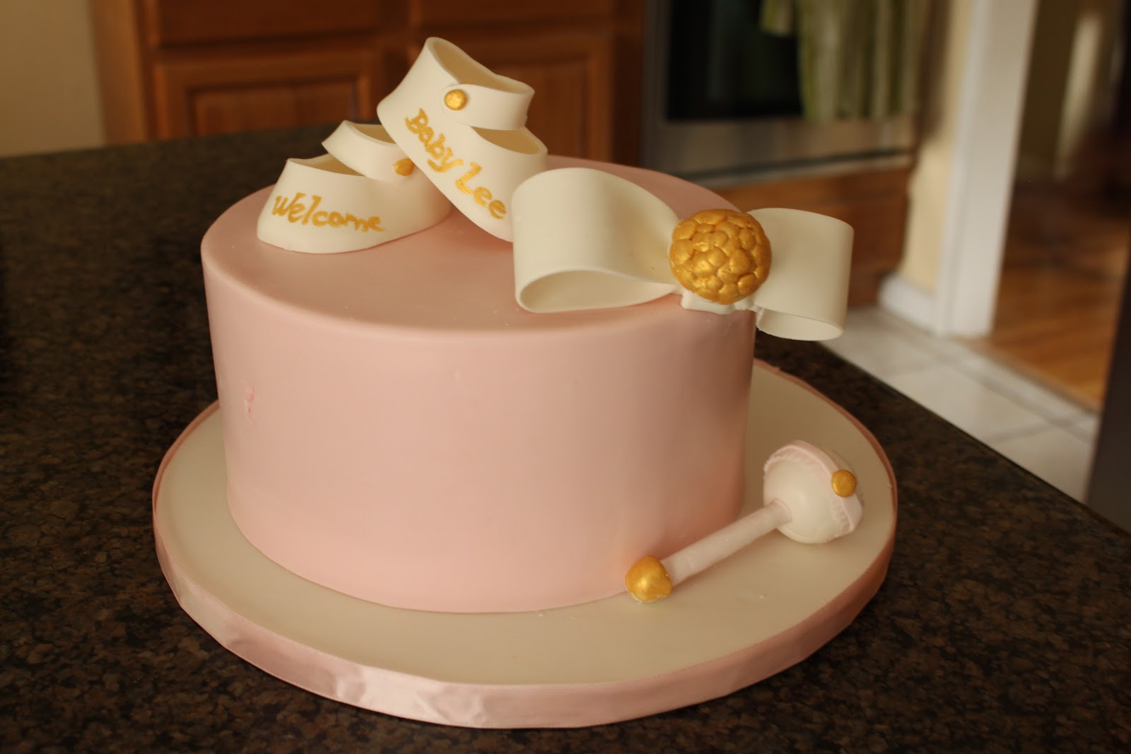 gold pink baby shower cake french macarons cupcakes just the