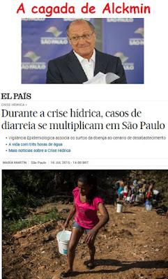 Falta d'água do Alckmin provocou maior diarreia da história de São Paulo