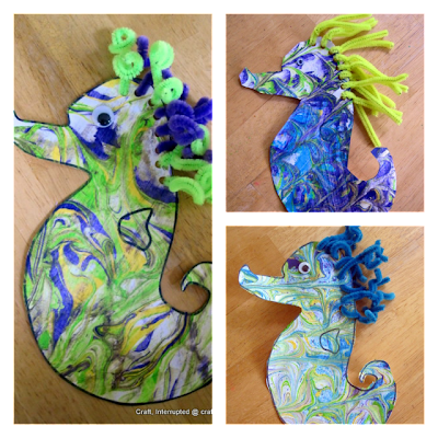 shaving cream painting seahorse craft