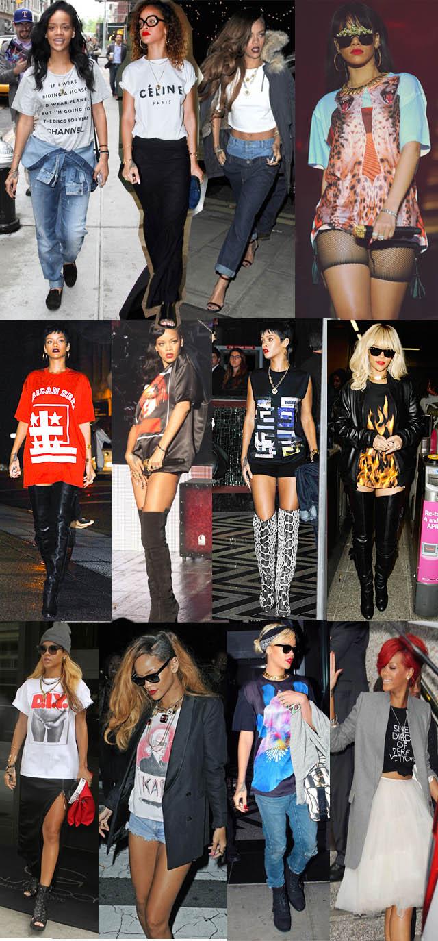 GANG GIRL-Rihanna-o estilo de rihanna-moda de rua-jeans-trend jeans-t-shirts-como usar camiseta no look-03