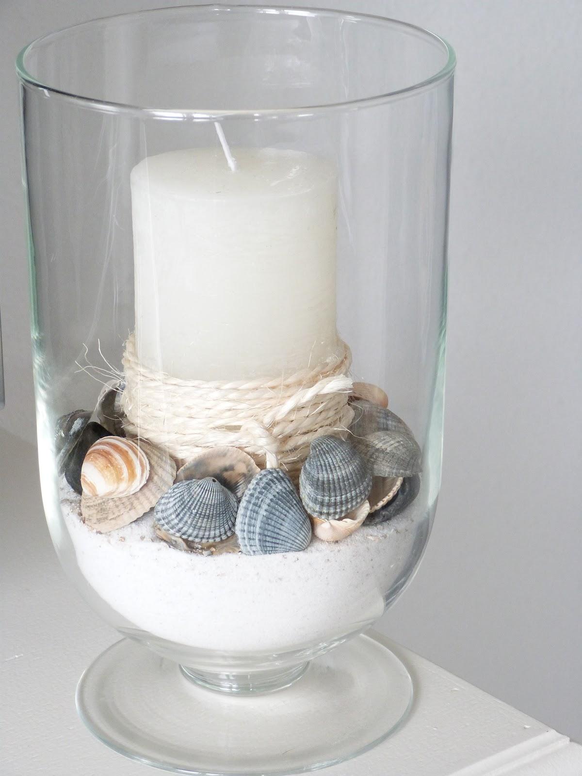 Het brocante schelpenhuisje schelpen in glazen potten en for Decoratie in vaas