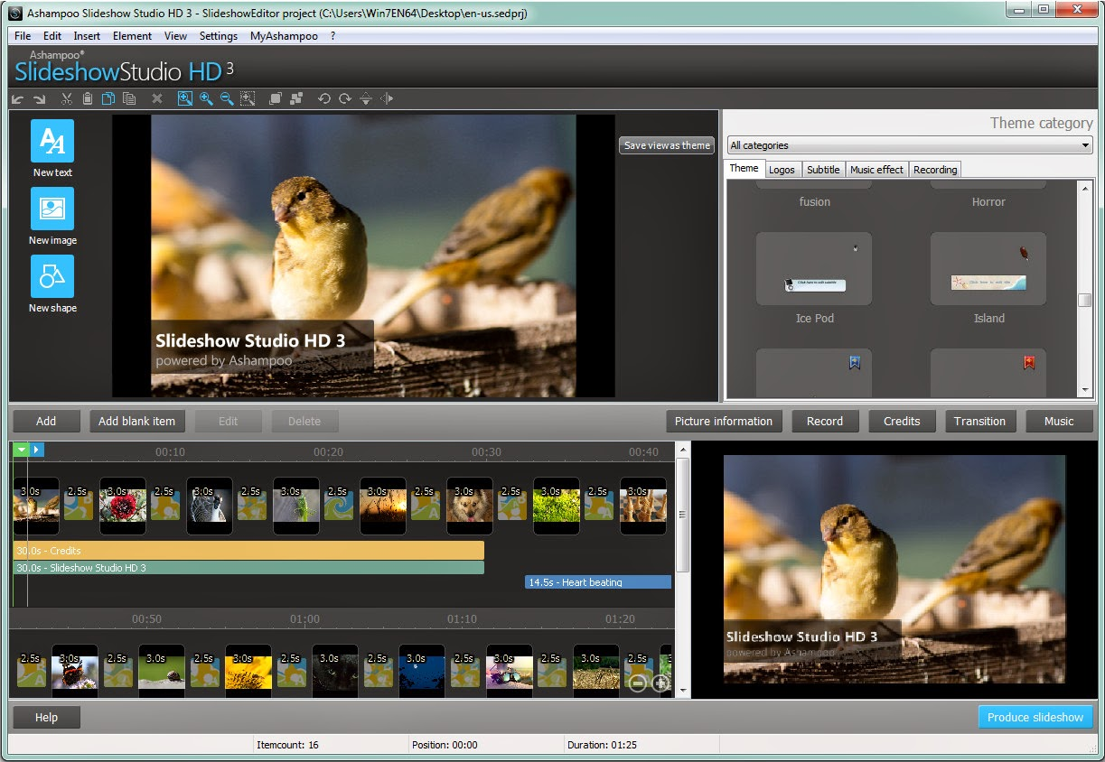 Ashampoo Slideshow Studio HD 3 - Editor User Interface