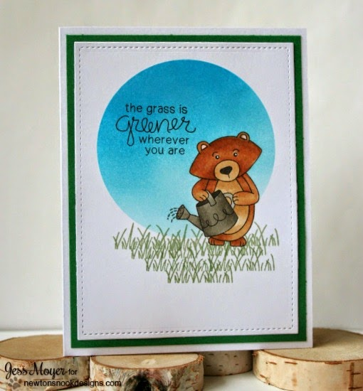 Grass is Greener Bear Card by Jess Moyer | Garden Whimsy | Garden Stamp Set by Newton's Nook Designs