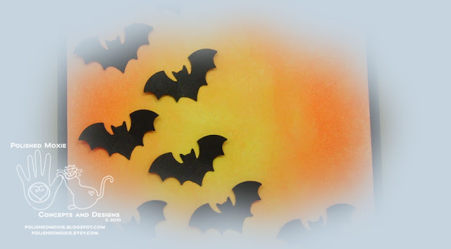Picture of a portion of the front of my handmade bats halloween card