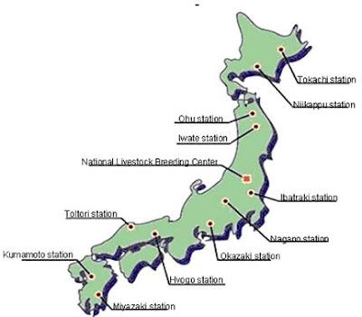 Bản đồ phân bố các trạm giống vật nuôi tại Nhật Bản.