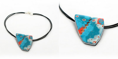 Polymer Clay Mokume Gane Abstract Pendant in Turquoise & Orange Handmade by Lottie Of London Bespoke Jewellery