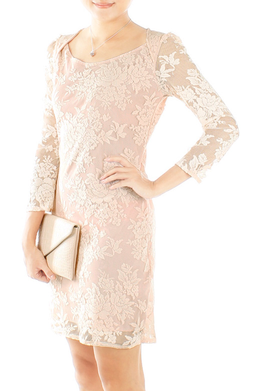 Uptown Posh Lace Dress with ¾ Sleeves