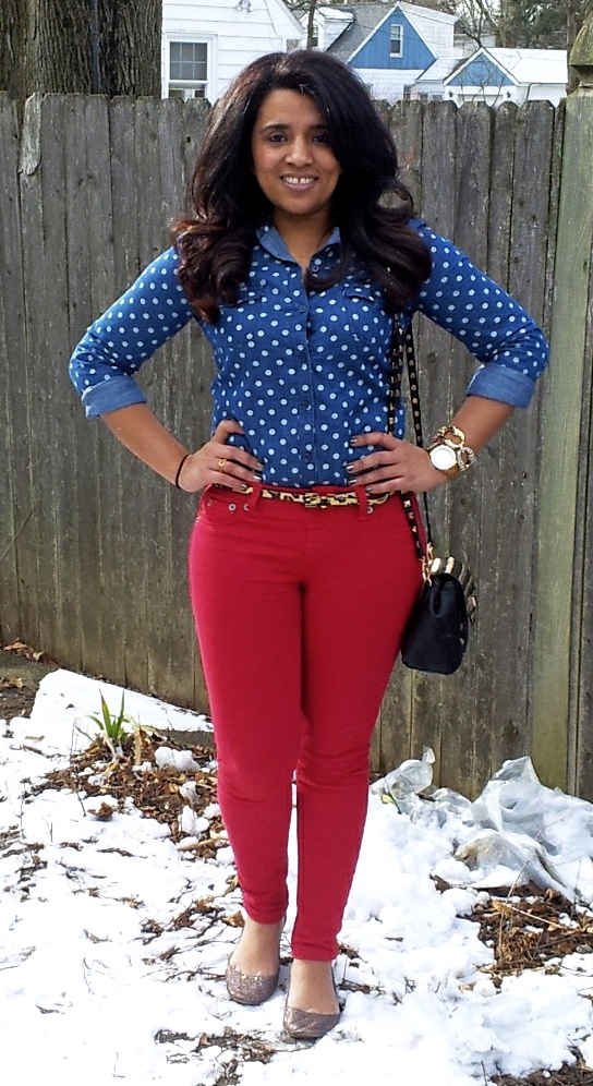 Outfit: Red & Chambray