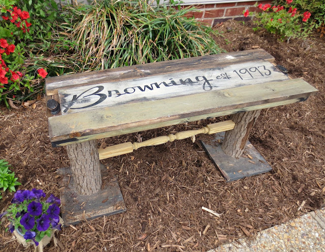 Reclaimed Wood Bench Antique and Vintage Decor Link Party at http://knickoftimeinteriors.blogspot.com/