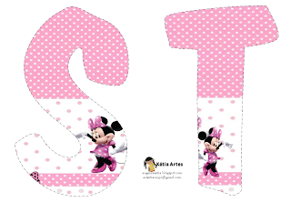 Lindo alfabeto de Minnie saludando, en rosa y blanco ST.