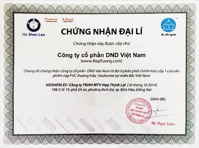 Chứng nhận DND là đại lí chính hãng nẹp trát vữa pvc corner bead