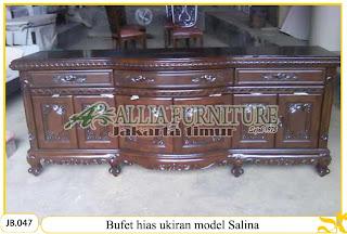 Bufet hias kayu jati ukiran model salina