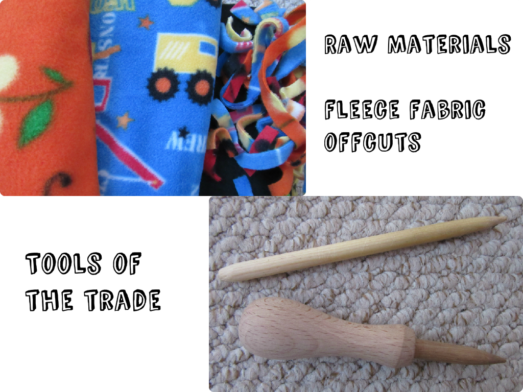 Fleece fabric remnants and wooden tools