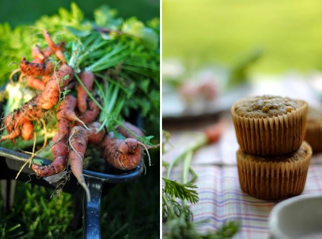 Gluten-Free banana Muffins and fresh carrots