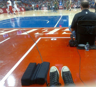 Greyson Chance Converse feet at a basketball game