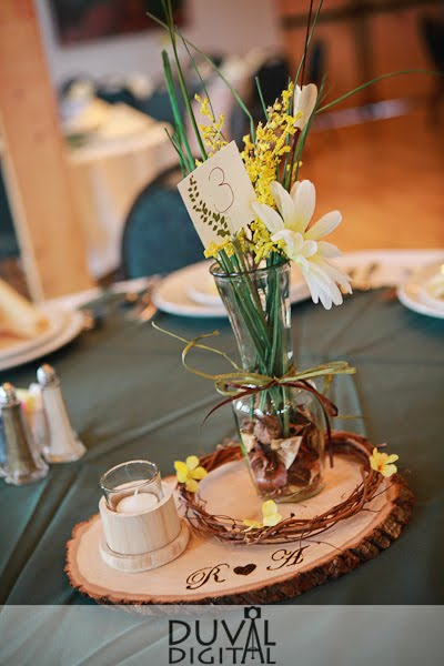 Tree Ring Centerpiece with wood burned monogram | Phantom Canyon Wedding | Colorado Springs, CO