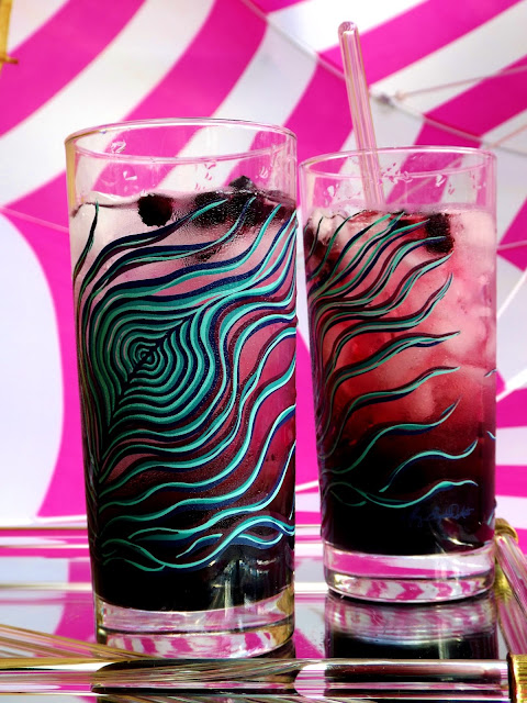 Finished Wild Blueberry cocktails in hand painted glasses by Mary Elizabeth