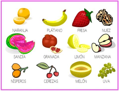 Laminas de frutas y verduras para imprimir - Imagui