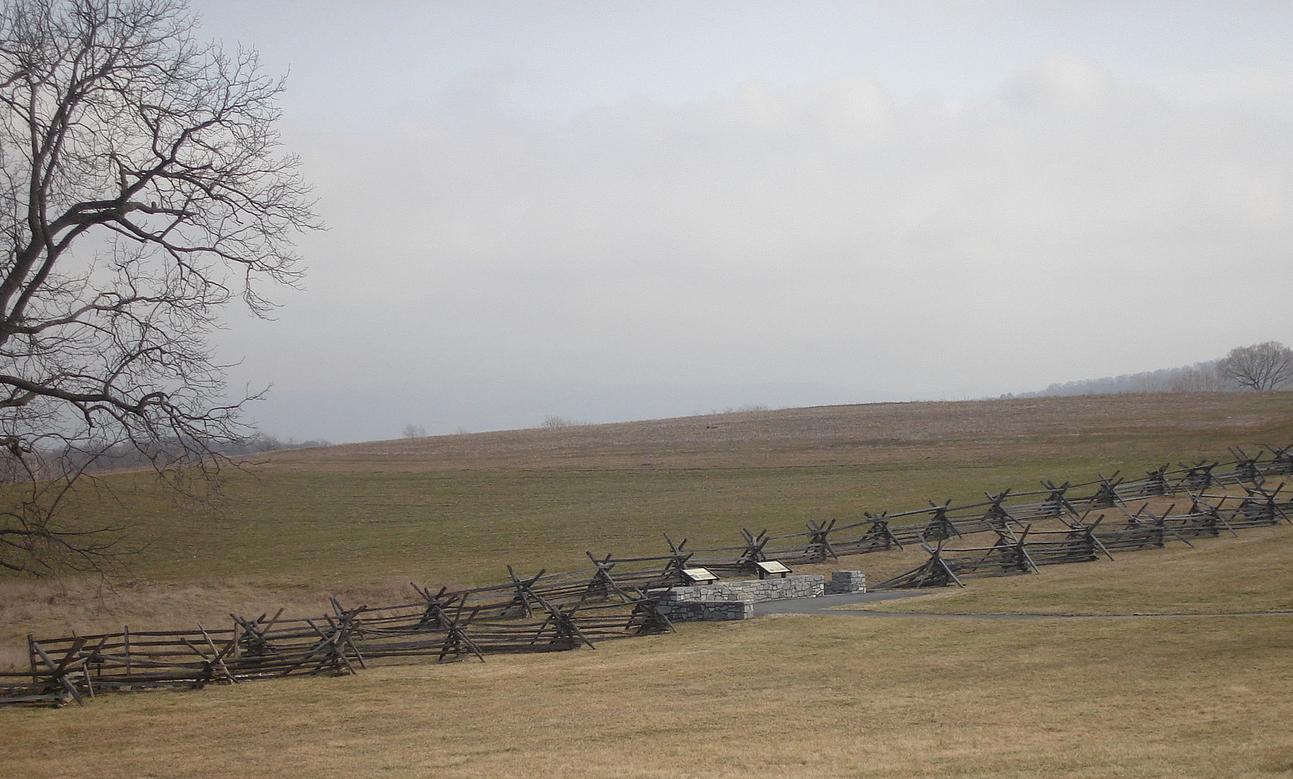 The 'Bloody Lane' at Antietam Battlefield as it is seen today.