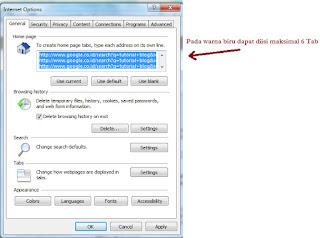 Optimasi SEO Startup Internet Explorer / IE - copy paste seperti pada kolom yang di blok warna biru
