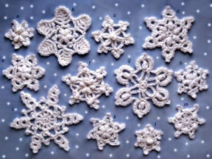 Apliques estrella copo de nieve al crochet