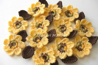 Crochet Flower Applique Yellow