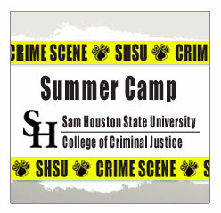 Logo for SHSU CJ Summer Camp featuring police tape.