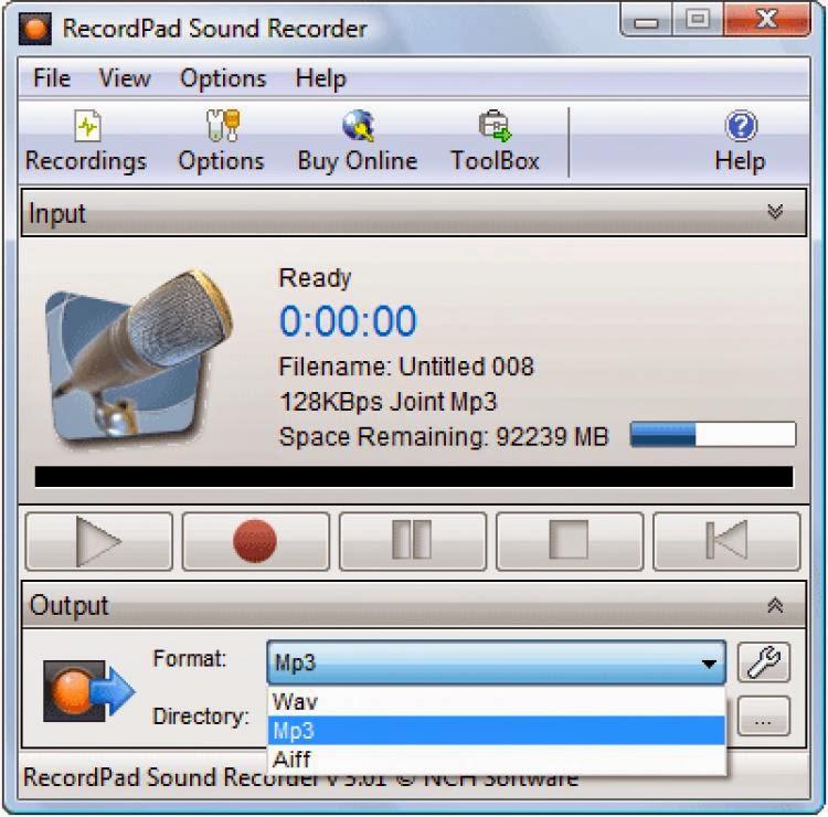 صورة من برنامج تسجيل الصوت RecordPad